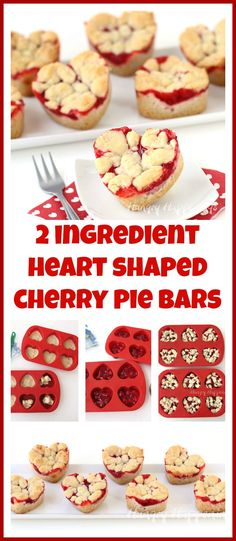 2 Ingredient Heart Shaped Cherry Pie Bars are a perfectly easy dessert to make for Valentine's Day. See just how easy they are to make at HungryHappenings.com.