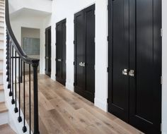 Orono Artisan Home Tour: Black Doors, Windows and Hand Railing Against White Trim - Cityscape Painting Contemporary Interior Doors, Contemporary Windows, Contemporary Artists, Black Doors, White Doors, Black Trim Interior, Black Baseboards, Black Window Trims, Black Molding