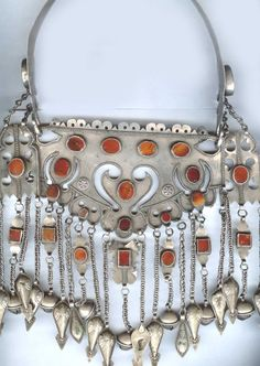 Bukov  , carnelians on a silver cut out style that is highly unusual. Ersari , Turkoman. late 19th c (private collection Linda Pastorino)