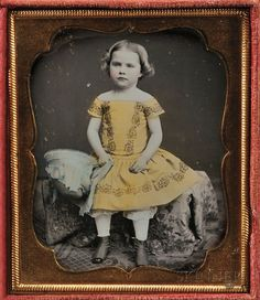 American School, 19th Century Hand-tinted Sixth-plate Daguerreotype of a Young Girl (Lot 130, Estimate $500-$700)