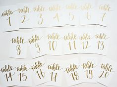 gold calligraphy wedding table numbers // handwriting in calligraphy font for wedding decor // table signs for wedding guest tables by songandpen on Etsy