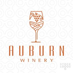 Auburn Winery Stock logo by MelanieD (Wine glass Illustration)