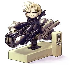 FF7AC: Look Ma, No Hands by ShiroiNeko-sama. Cloud and the motorcycle. XD