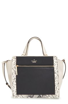 Snake-embossed trim beautifully complements the soft pebbled leather and the gold hardware of this pair-with-everything satchel styled in neutral hues by Kate Spade.