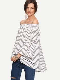 Multicolor Striped Off The Shoulder Bell Sleeve Blouse | MakeMeChic.COM