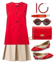"""I Love Red"" by naviaux ❤ liked on Polyvore featuring Boutique Moschino, Lemaire, Valentino, Gucci, Trish McEvoy and Mulberry"