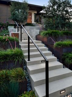 Find the best of Keith Willig Landscape Services, Inc from HGTV Outside Stairs, Front Stairs, Entry Stairs, Exterior Stairs, Outside Handrails, Exterior Paint, Exterior Design, Concrete Front Steps, Concrete Stairs