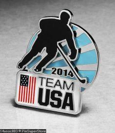 OLYMPIC PINS BADGE 2014 SOCHI RUSSIA TEAM USA USOC NOC ICE HOCKEY 3D SPORT