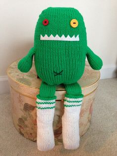Handmade Knitted Green Monster Soft Stuffed Plush Toy by CatDKnits