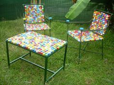 Bottle cap chairs. Neat. But I'd still spray paint them one color.