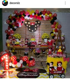 Mickey and Minnie Mouse Birthday Party Dessert Table