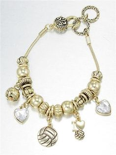 Volleyball Charm Bracelet Gl Ball Heart Bead 7 In Gold Tone Sport