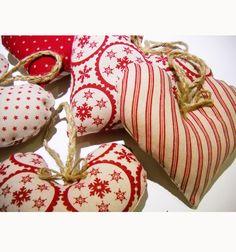 Pair of Big Danish Nordic Scandinavian Christmas Linen Hearts