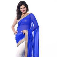Blue and White Faux Georgette Saree with Blouse