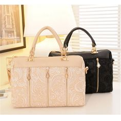 Women's Black White Lace Fashion Pu Leather Brand Lady's Cross-body Bag Shoulder Bag Zipper Messenger Bag
