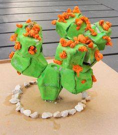 Egg Carton Cactus great for lessons on desert biome