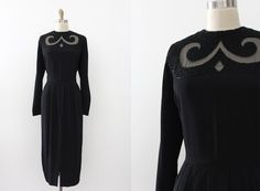 robe vintage des années 1940 / / 40 s black robe par TrunkofDresses
