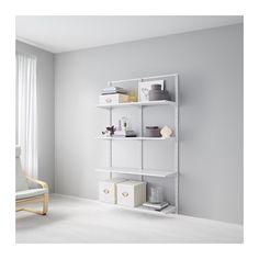 IKEA - ALGOT, Szyna ścienna/półki, Elementy z serii ALGOT można zestawiać ze sobą na wiele sposobów, dostosowując je do potrzeb i dostępnej przestrzeni.Wystarczy jedynie zatrzasnąć uchwyty, półki i inne dodatki, aby z łatwością zmontować, dopasować czy zmienić twoje miejsce do przechowywania.Produkt można używać w całym domu, nawet w pomieszczeniach o dużej wilgotności, takich jak łazienka czy kryte balkony.Można również stosować w łazienkach i innych wilgotnych pomieszczeniach.Zatrzaśn...