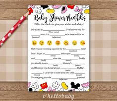 Disney Theme Baby Shower Madlibs – Baby Shower Advice For Mom-to Be Games – Disney Baby Shower – Gender Neutral Baby Shower – 005 Disney Theme Babyparty Madlibs Babyparty Beratung von ohellobaby Baby Shower Prizes, Baby Shower Table, Shower Party, Baby Shower Games, Disney Babys, Baby Disney, Baby Shower Advice, Shower Ideas, Unisex Baby Shower