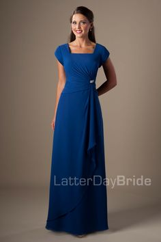 $210 LaterDayBride.com Modest Bridesmaid Dresses : Molly Comes in various blues, purples, and grey.