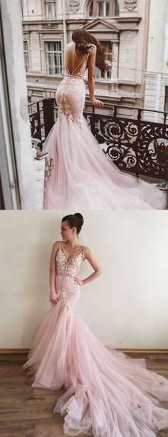 Pink v neck tulle lace long prom dress with train, pink evening dress – trendty