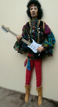 JIMI HENDRIX (doll) CCA 75 cm tall helgasartdolls.com Etsy. OOAK Character dolls by Helgasartdolls