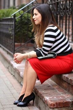 Wearing striped crop top with red pencil skirt