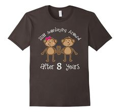 8th Anniversary T-shirt Funny Monkey Couples Photo Tee