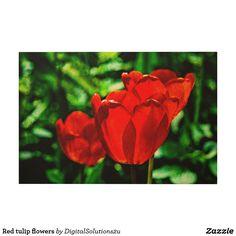 Red tulip flowers wood wall art