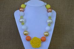"""AUTUMN HARVEST Girls Chunky Beaded Necklace ~ AUTUMN HARVEST is inspired by my love of fall here in the south...changing leaves, orange pumpkins, fluffy cotton in the fields, and my favorite fall treat, candy corn! This piece is perfect for fall but not so """"fallish"""" that it wouldn't look great on sunny spring day too! :-)"""