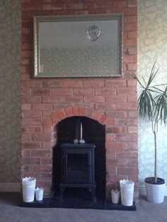 Finished exposed brick chimney fireplace