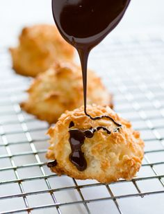 Coconut-Almond Macaroons (sugar, egg, unsweetened shredded coconut, almonds, vanilla extract, salt, chocolate chips)