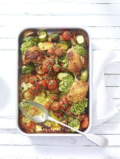 A quick, nutritious midweek dinner recipe packed full of Mediterranean flavours. We used chicken thighs and dollops of pesto for extra flavour. Summer Recipes, Easy Dinner Recipes, Winter Recipes, Chicken Tray Bake Recipes, Summer Chicken, Sheet Pan Suppers, Cooking Recipes, Healthy Recipes, Healthy Food