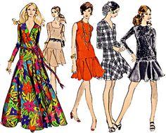 60s Vogue Dropped Waist Dress, Full Flared Skirt, Length, Sleeve & Neckline Options, Size 10, Bust 32.5, Vogue Basic Design 2235 by TheGrannySquared on Etsy