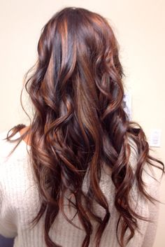 Copper and mahogany balayage and partial foil on dark hair