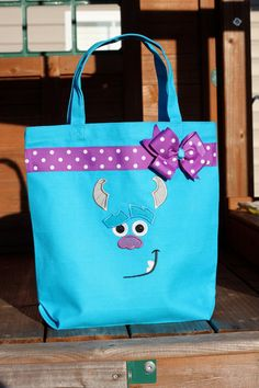 Personalized Blue Sulley Autograph Library Book Tote Bag - Monsters Inc, Monsters University Purse Sully