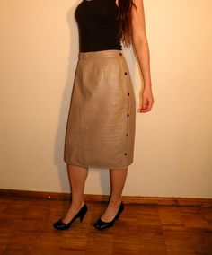 Vintage Leather Skirt by JustGiza on Etsy, $22.00