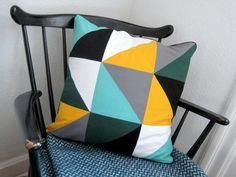 Triangle patchwork pillow