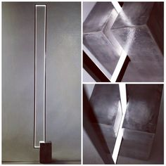 Floor lamp with a clear LED light strip inside a rectangular metal frame