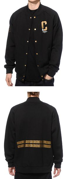A unique fleece line snap button body for comfort with gold and white Crooks & Castles logo graphics at the left chest, back, and on the right sleeve.