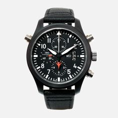 Gent's IWC Fliegeruhr Doppelchronograph Edition Top Gun wristwatch. Black ceramic case featuring on an original IWC black nylon strap.