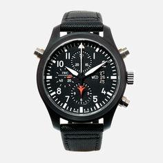 Gent's IWC Fliegeruhr Doppelchronograph Edition Top Gun wristwatch. Black ceramic case featuring on an original IWC black nylon strap.