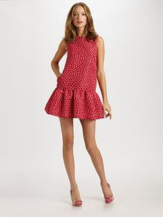RED Valentino. Faille Polka Dot Dress.