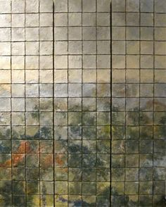 Landscape1 by Elizabeth MacDonald. After firing, these tiles are assembled into images, merging the organic into the formality of a grid.