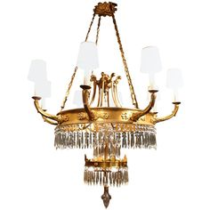 Swedish Gilt Bronze Chandelier c. 1940 - Shop #rubylane for wonderful vintage and #antique lighting fixtures - all styles and sizes
