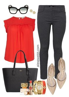 Plus Size Work Outfits - Black & White Pants Plus Size Work Ou. Plus Size Work Outfits - Black & White Pants Plus Size Work Outfits - Black & White Pants, Red Top, Nude Flats - Plus Size Work Wear. Casual Work Outfits, Work Casual, Cute Outfits, Black Outfits, Office Outfits, Womens Business Casual Outfits, Red Flats Outfit, Casual Work Clothes, Summer Work Outfits Office
