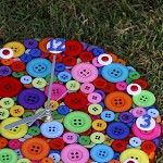 Tick Tock it's Button O'Clock - Rainbow of Colour - Button Clock - 27cm - by Addicted to Buttons