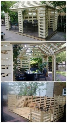 Made From Recycled Pallets Complete pallet pavillon built with europallets.Really beautiful work ! not for beginners !Complete pallet pavillon built with europallets.Really beautiful work ! not for beginners ! 1001 Pallets, Recycled Pallets, Wooden Pallets, Euro Pallets, Recycled Garden, Wooden Pallet Projects, Outdoor Projects, Garden Projects, Pallet Ideas