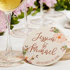 Buy personalized paper coasters for a wedding or bridal shower. Add any 3 lines of text - names, wedding date & more! Free personalization & fast shipping.