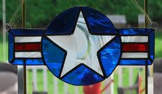 This US Air Force stained glass suncatcher, wall hanging is finished in a Tiffany style copper foil technique and is approx. 5 H X 10 W. Stained Glass Ornaments, Making Stained Glass, Stained Glass Birds, Stained Glass Christmas, Faux Stained Glass, Stained Glass Lamps, Stained Glass Designs, Stained Glass Panels, Stained Glass Projects